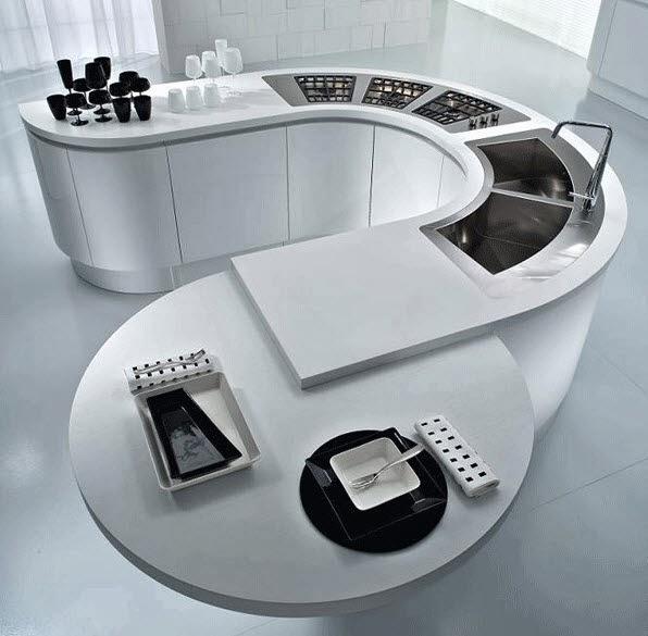 Diseño moderno de isla ovalada