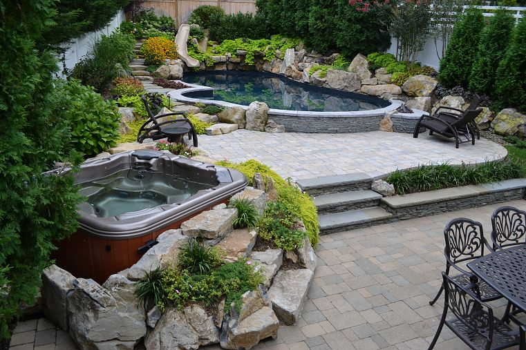 patios con elemento agua