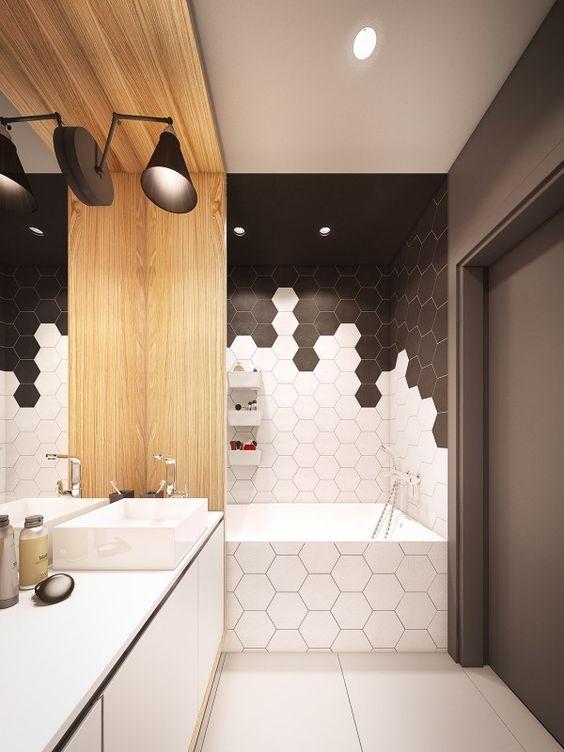 baño con azulejos blanco y accesorios modernos