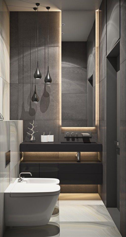 espejo y mueble en baños modernos